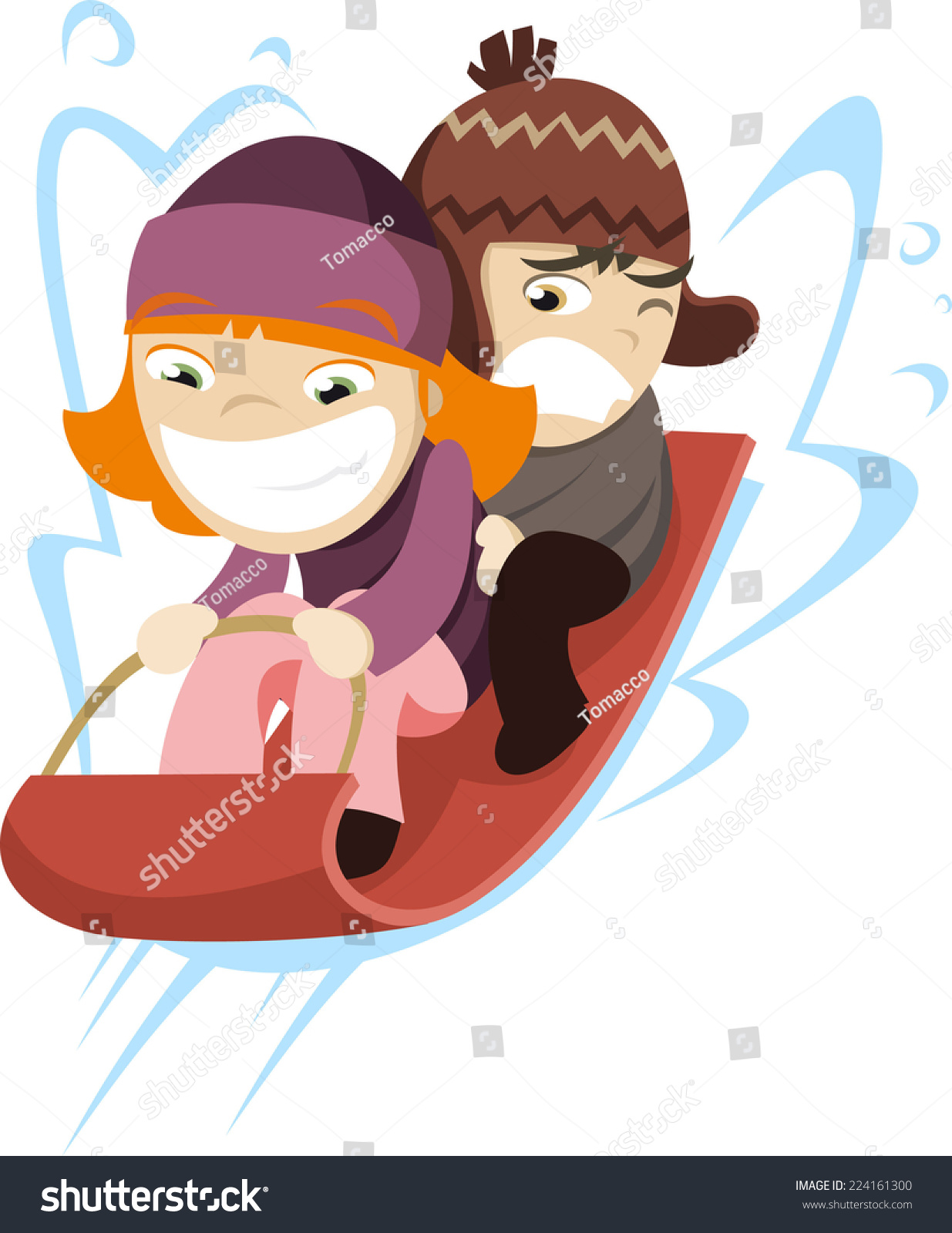 Sled Cartoon Kids tobogganing toboggan sled fast snow slide, vector ...