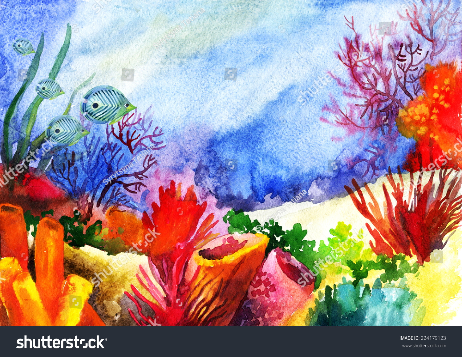 Underwater Landscape Coral Reef Hand Painted Stock ...