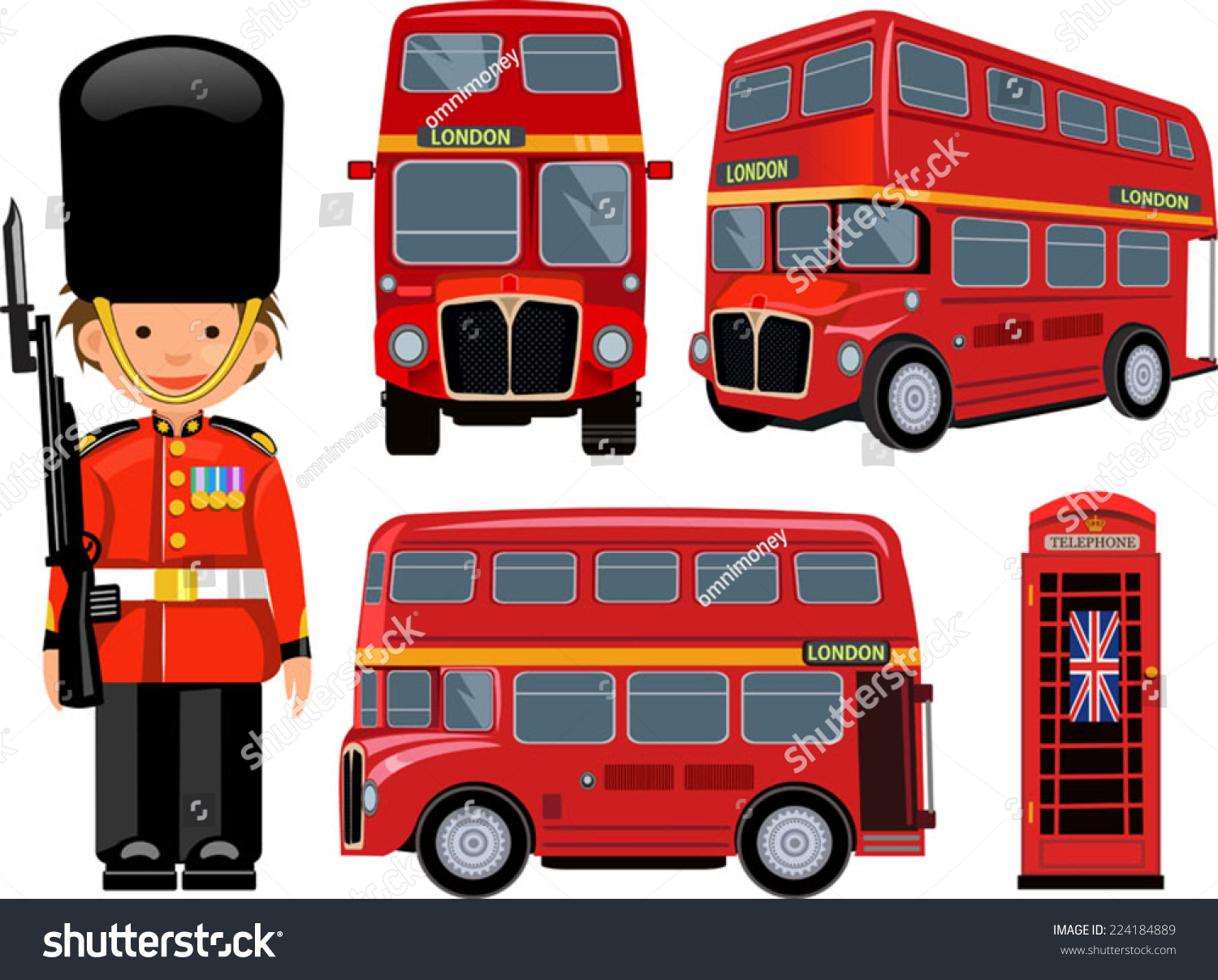 Royal Guard London Bus Stock Vector 224184889 - Shutterstock