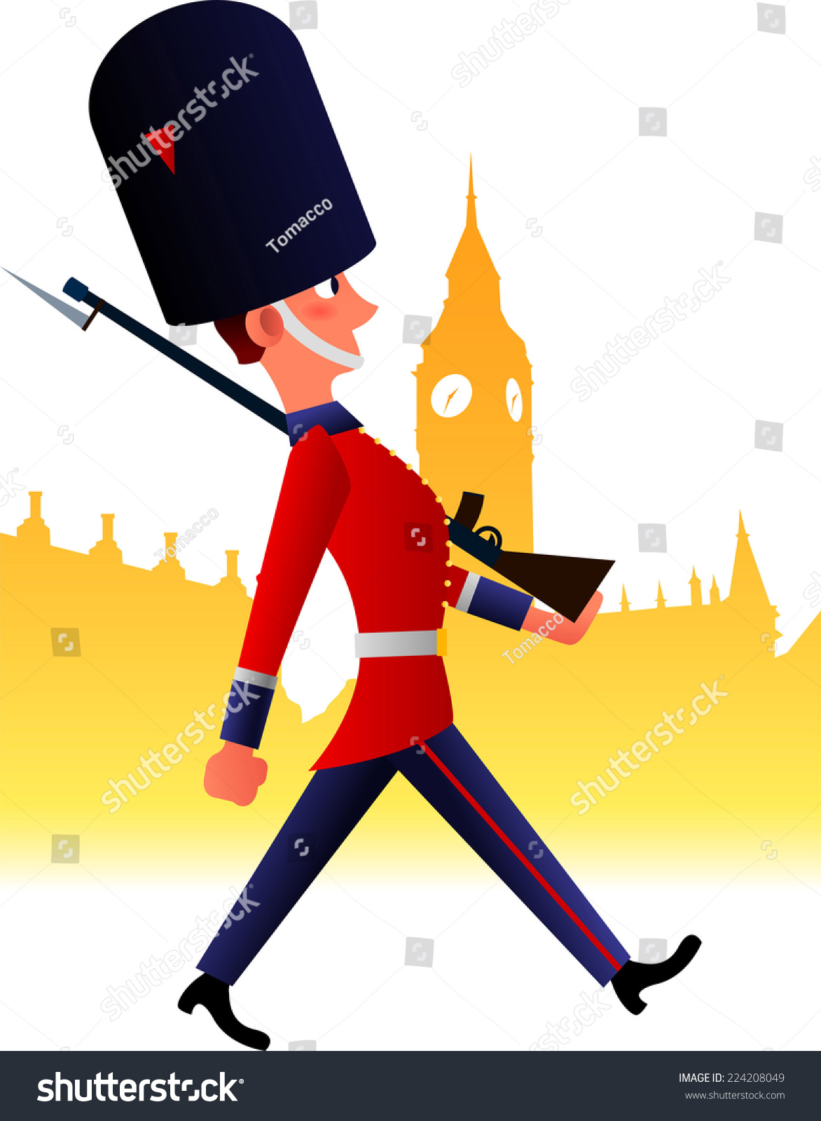 Redcoat Soldier Cartoon Stock Vector 224208049 - Shutterstock