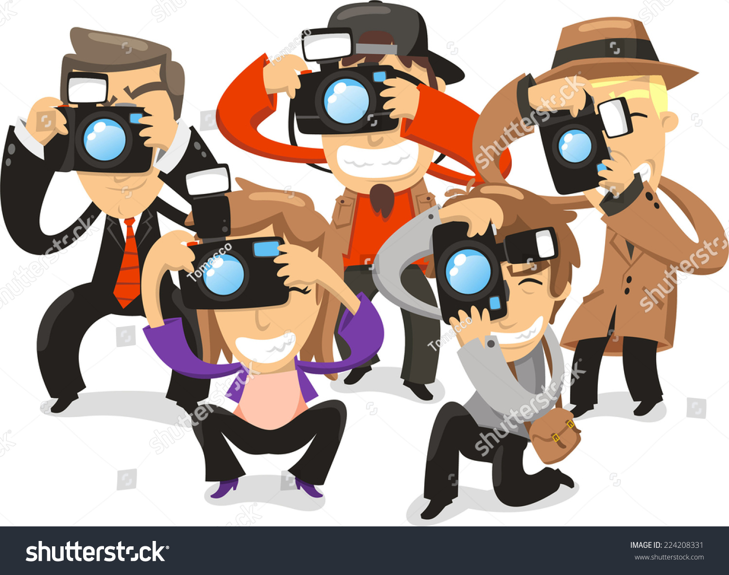 Paparazzi taking pictures photograph camera vector stock for Paparazzi clipart