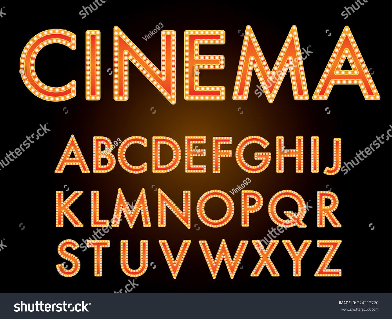Vector Cinema Font Stock Vector 224212720 - Shutterstock