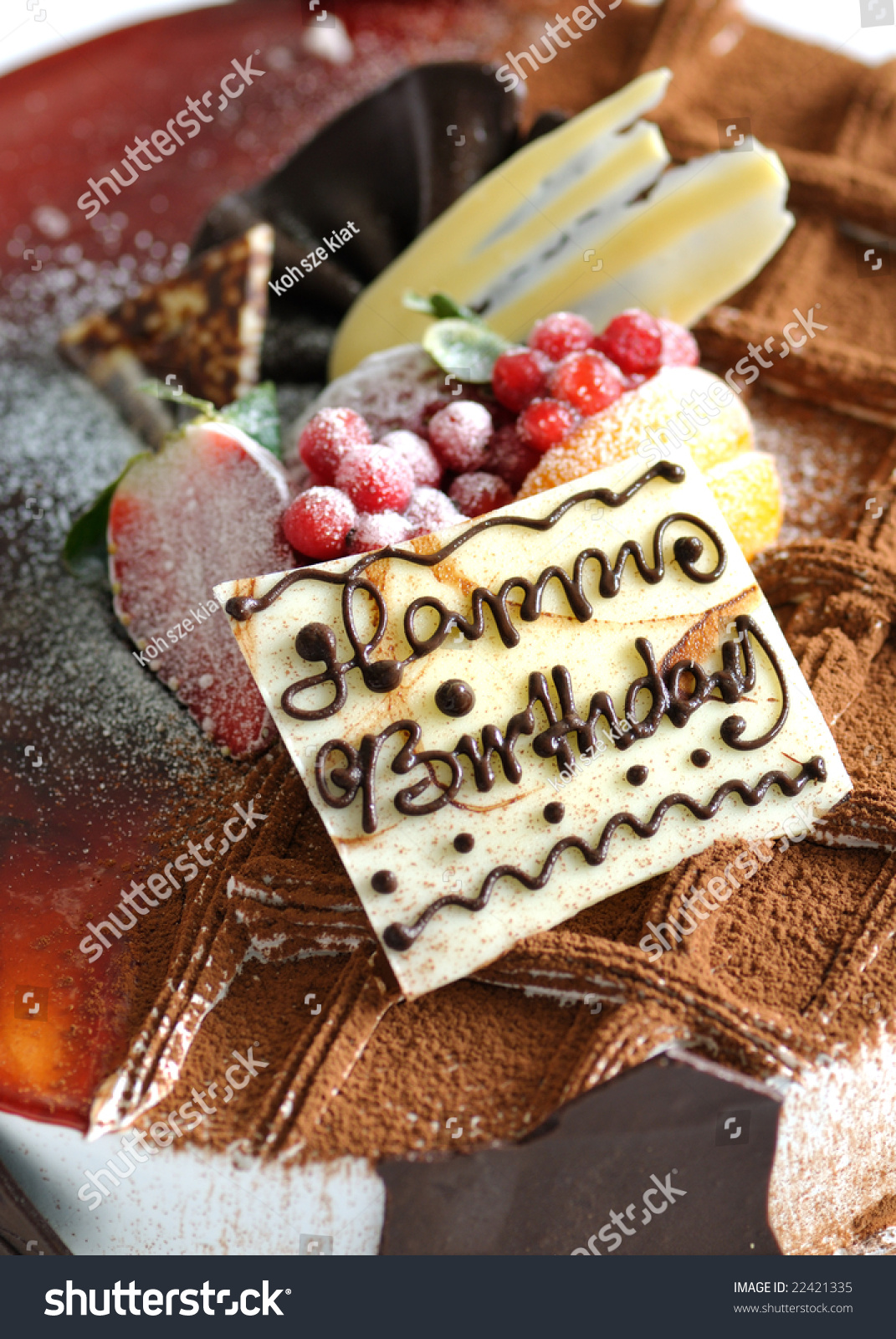 Birthday Cake Fruit Toppings Stock Photo Royalty Free 22421335