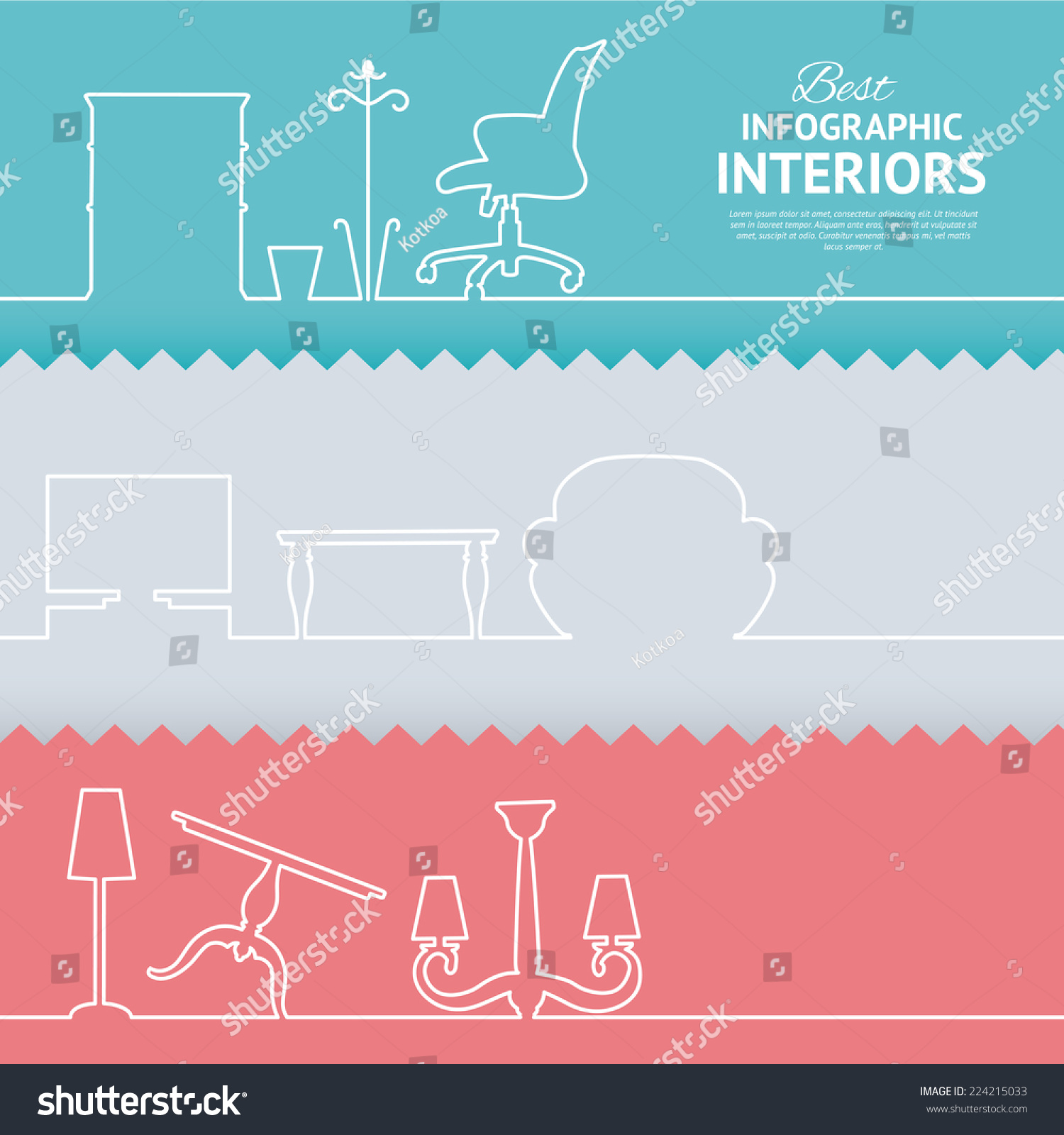 Living room objects furniture and equipment vector illustration - Flat Colors Infographics With Interior Design Elements
