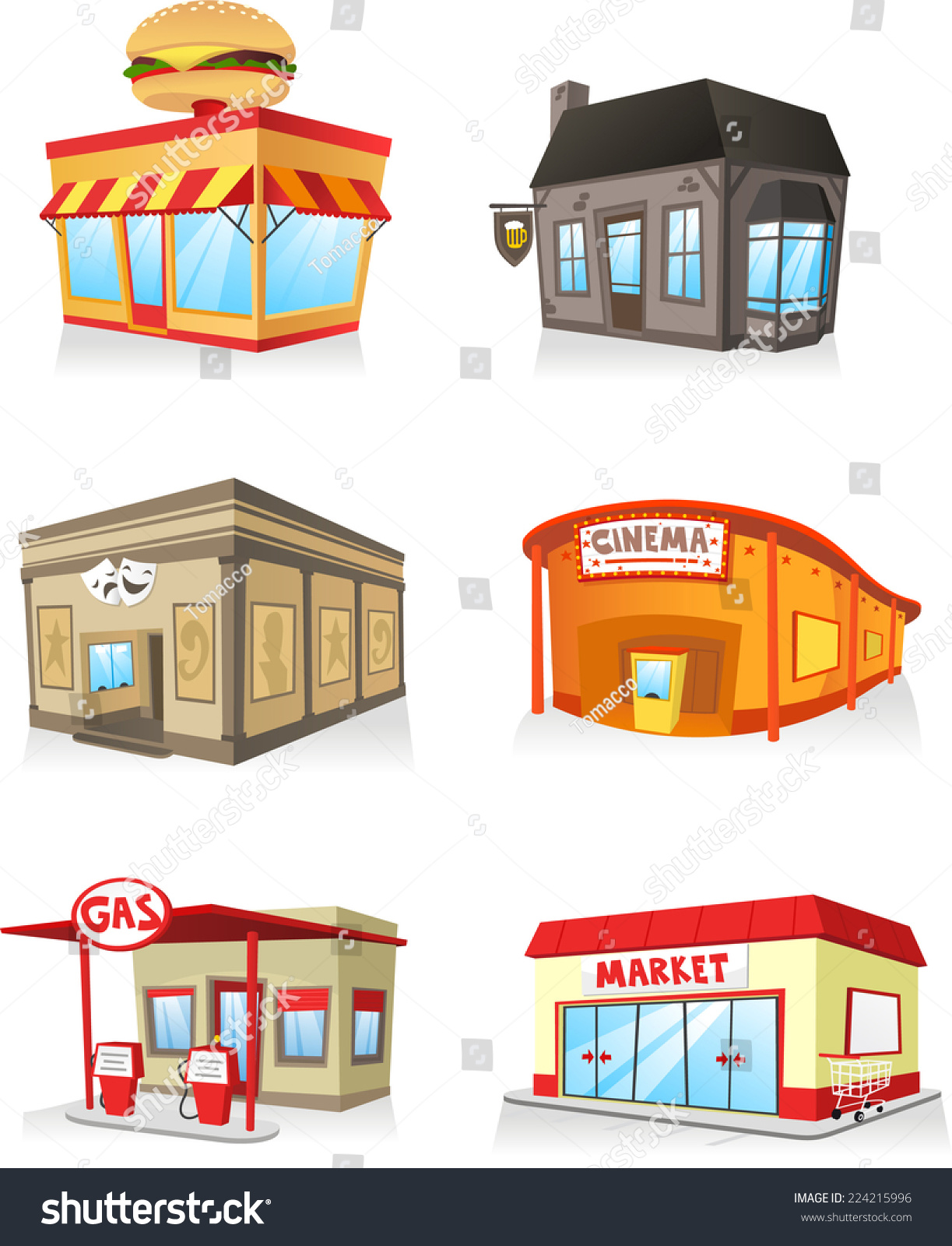 Public Building Cartoon Set Fast Food Stock Vector ... Cinema Building Cartoon