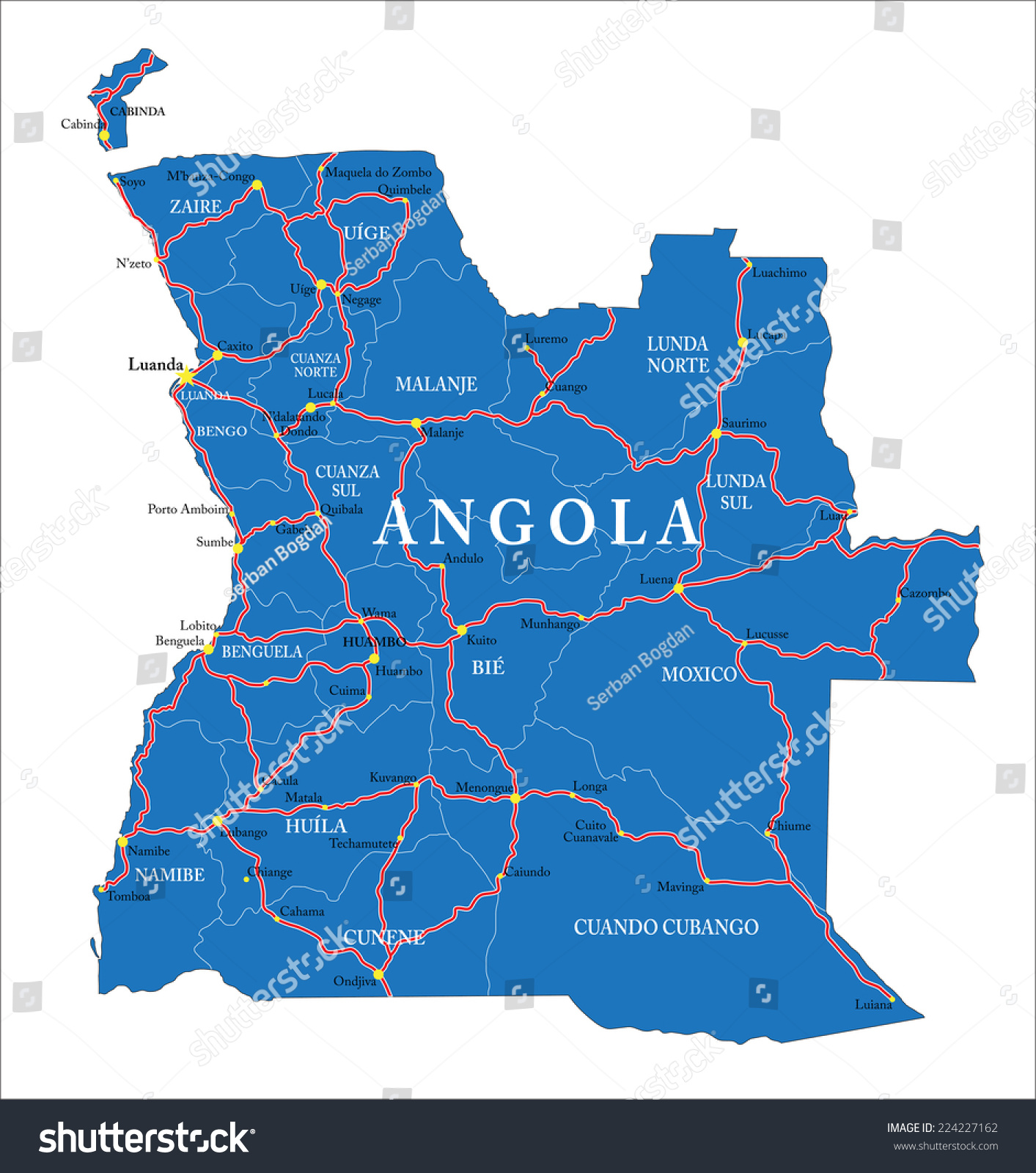 Angola Map Stock Vector Shutterstock - Angola map