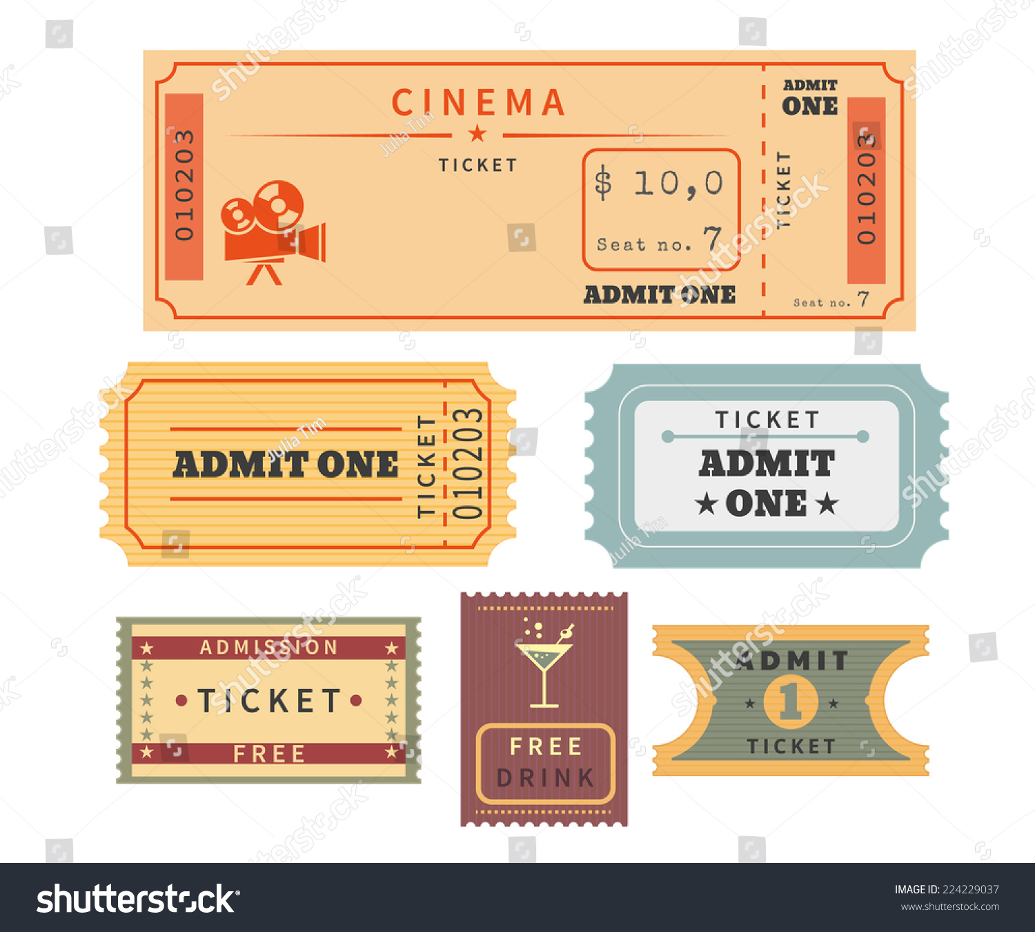 Retro Ticket Template Set Template Vector Stock-Vektorgrafik ...