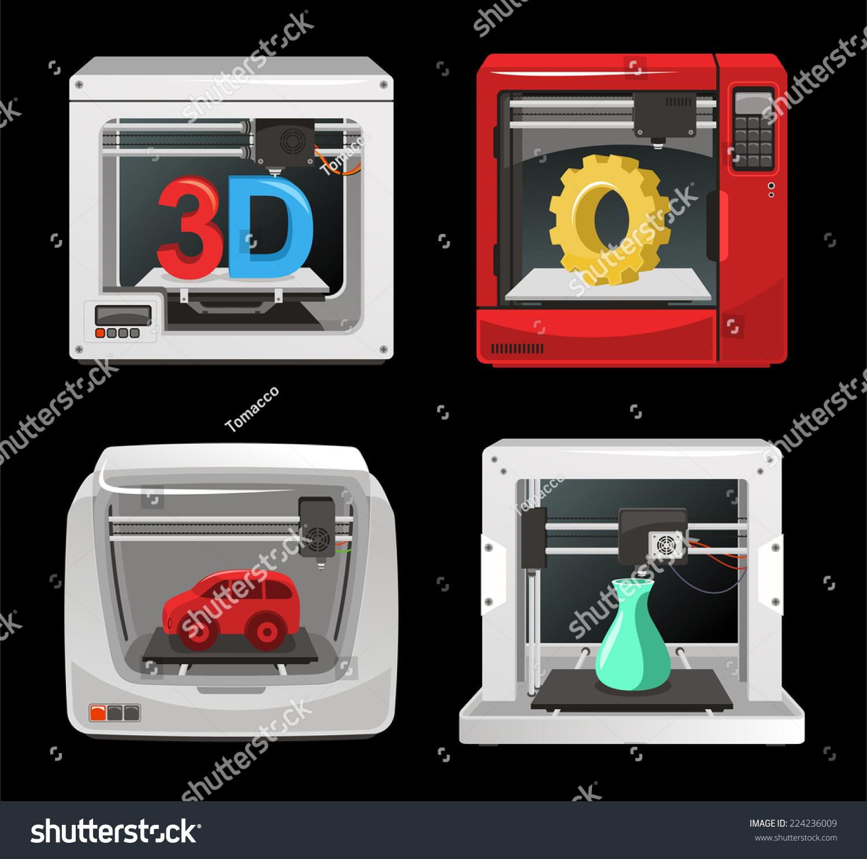 3d Printer Set Computer Software Computer Stock Vector