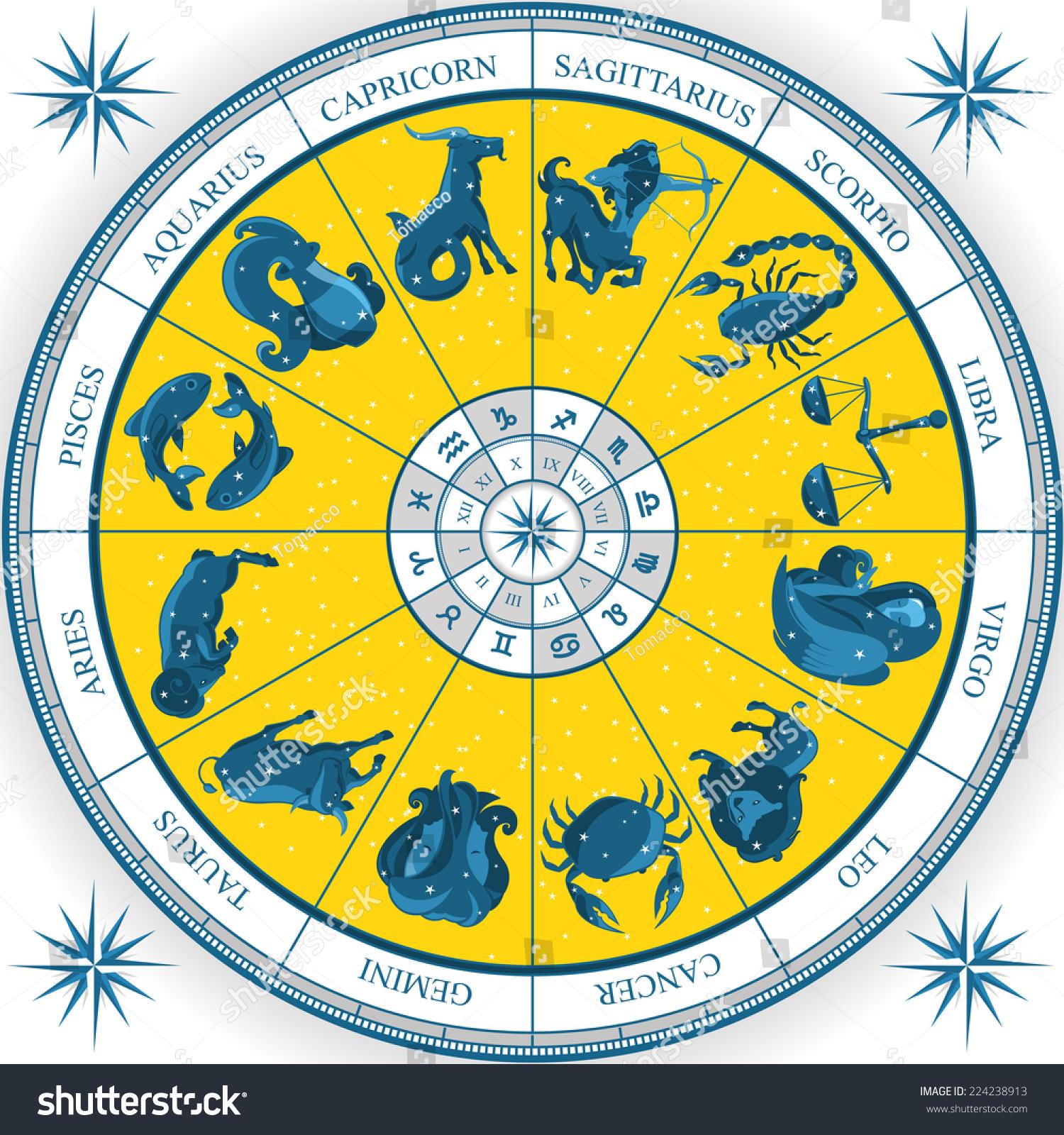 Zodiac wheel astrology natal chart cartoon stock vector 224238913 zodiac wheel astrology natal chart cartoon vector illustration nvjuhfo Images