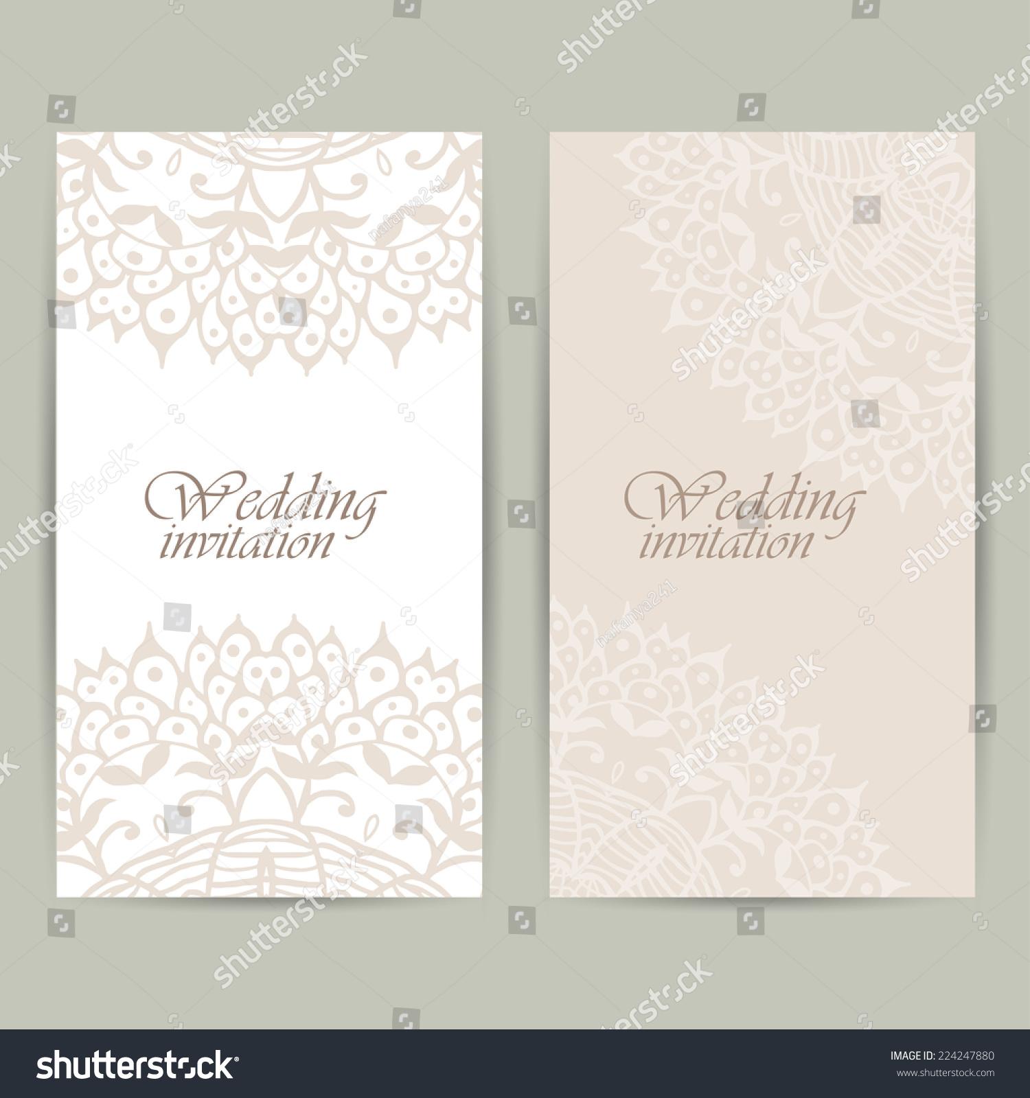 Vertical Wedding Invitation Card Lace Ornament Stock Vector ...