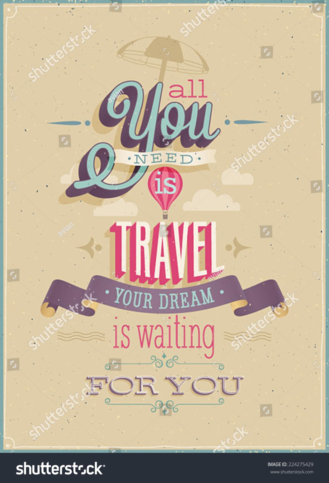 Vintage Travel Poster Vector Illustration Stock-Vektorgrafik ...