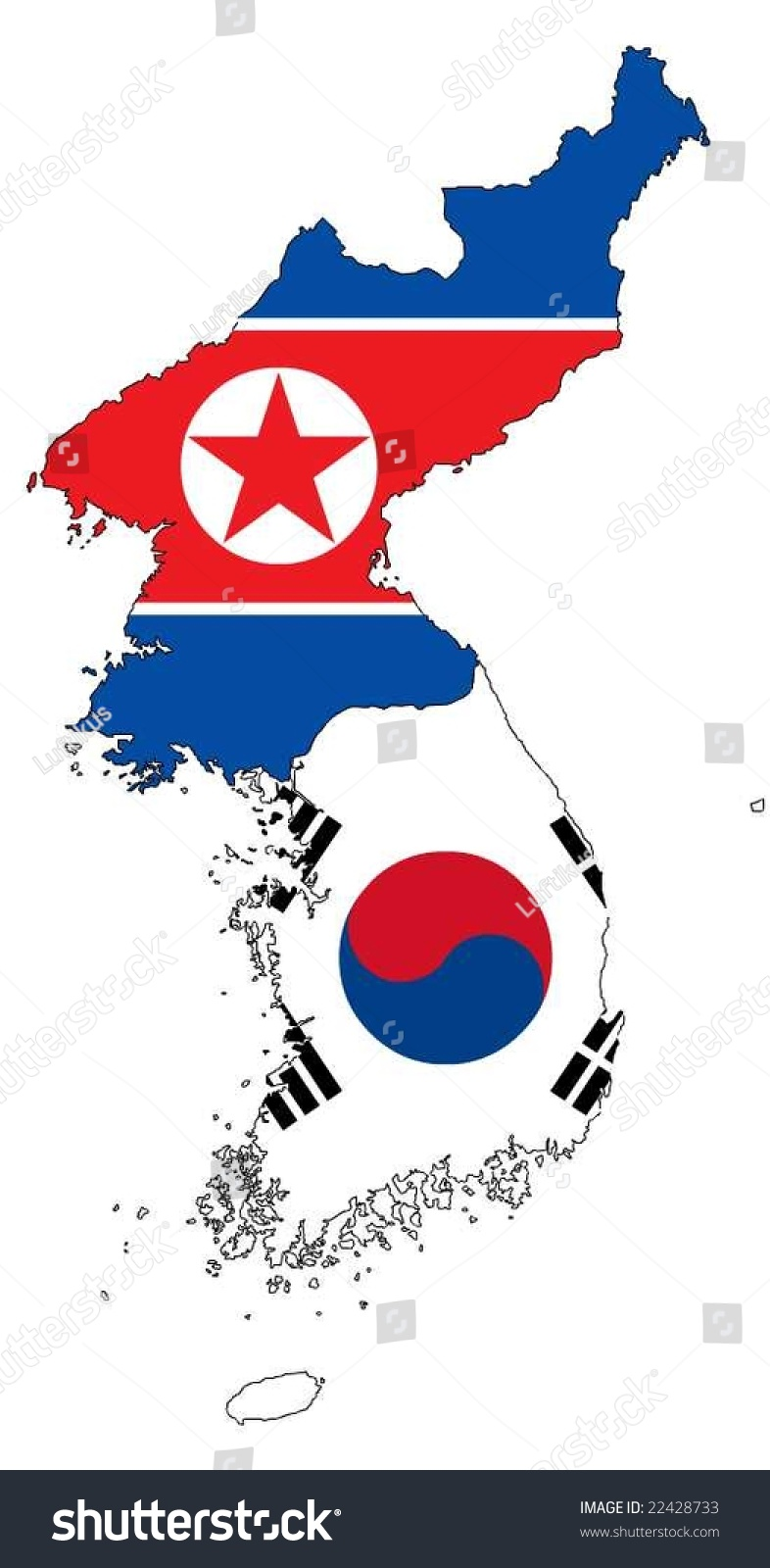 Map North South Korea Flag Vector Stock Vector Royalty Free