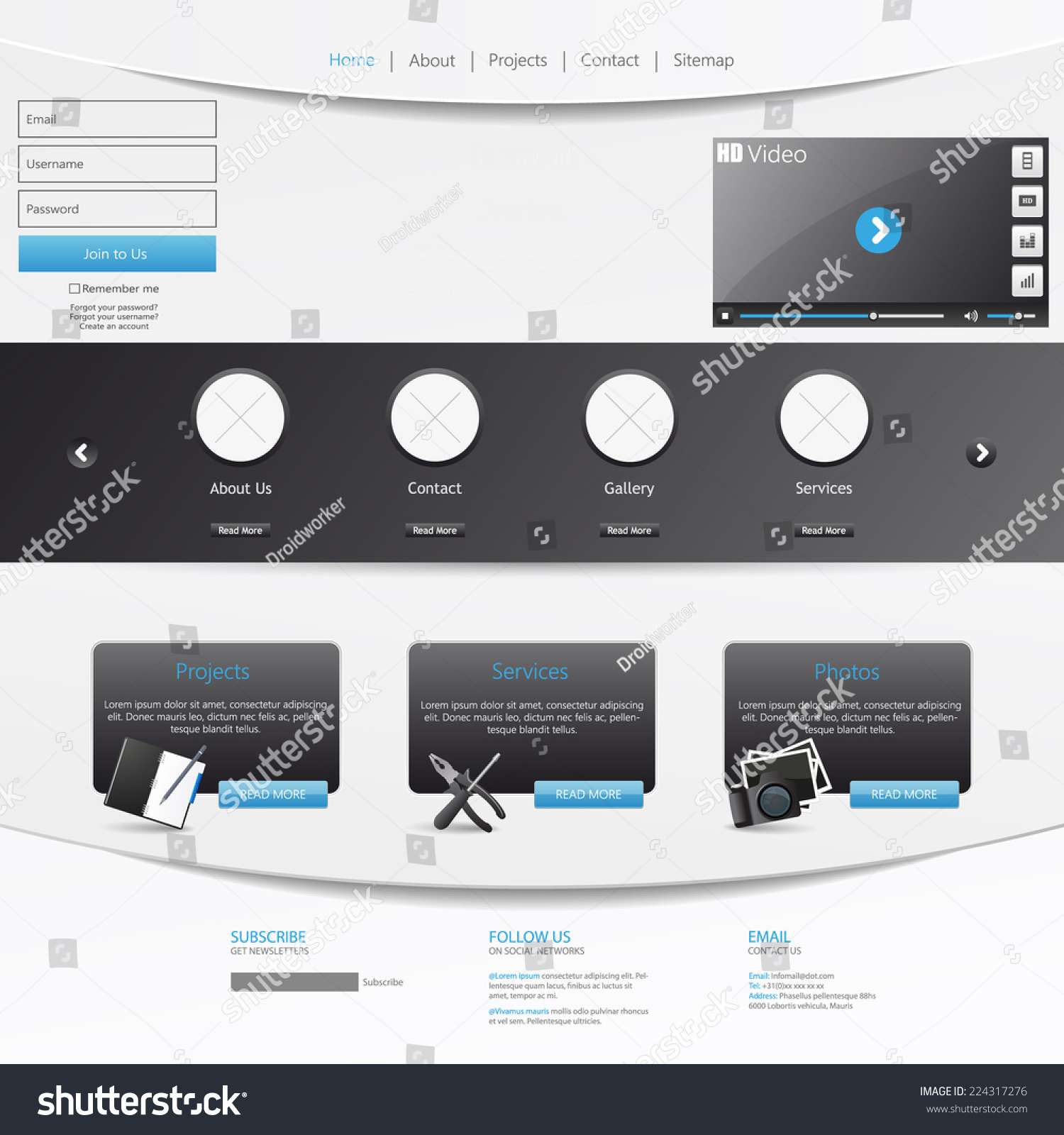 One Page Website Template Orange And White Color Ez Canvas