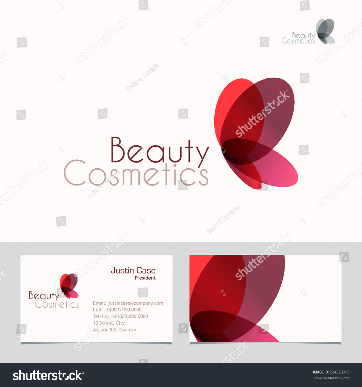 Red Butterfly Vector Sign Business Card Stock Vector