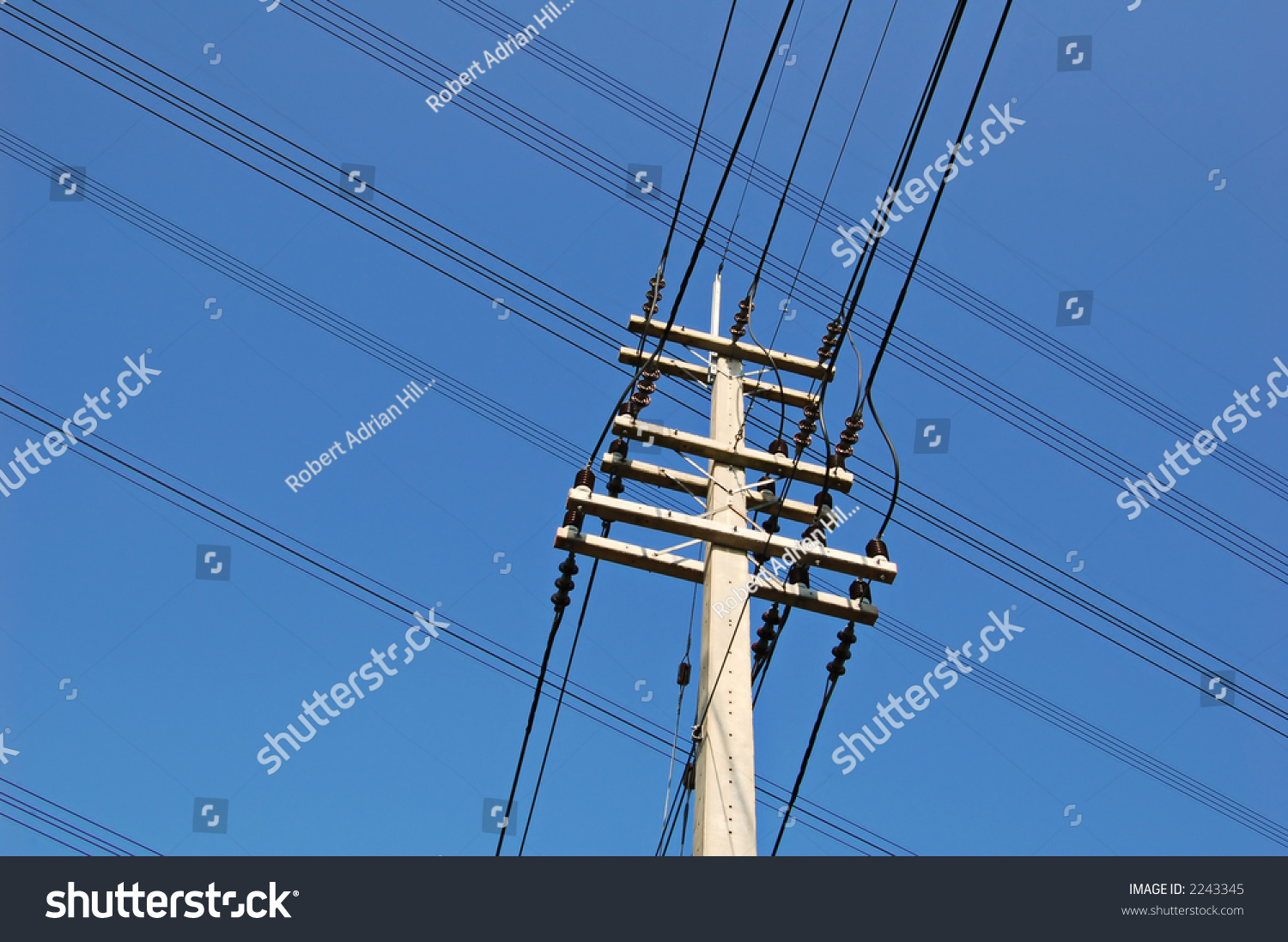 Two Overhead Electricity Wire Lines Crossing Stock Photo 2243345 ...