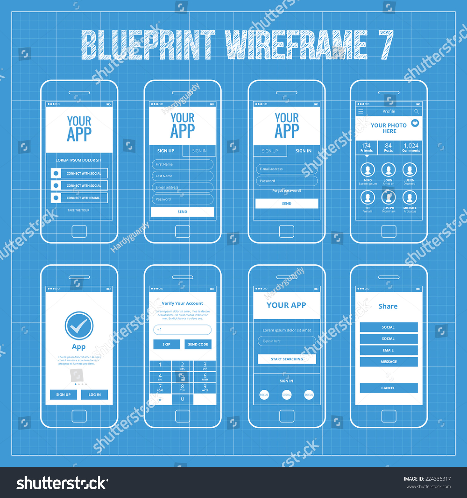 Blueprint mobile app wireframe ui kit vector de stock224336317 blueprint mobile app wireframe ui kit 7 welcome screen sign in screen sign malvernweather Images