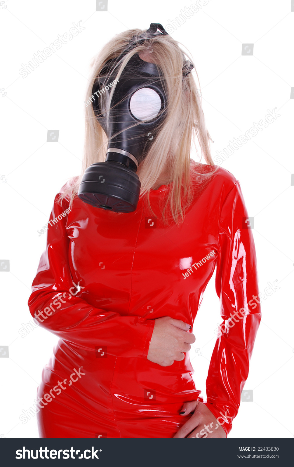 Superior Stock Photo Woman In Gas Mask And Tight Red Suit 22433830