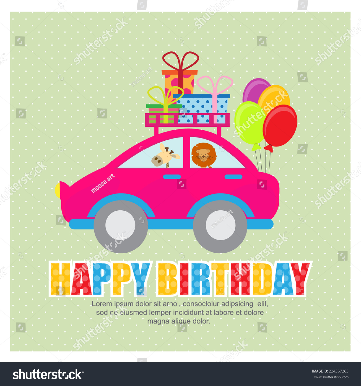 Birthday card invitation vector stock vector 224357263 shutterstock birthday card invitation vector stopboris Image collections