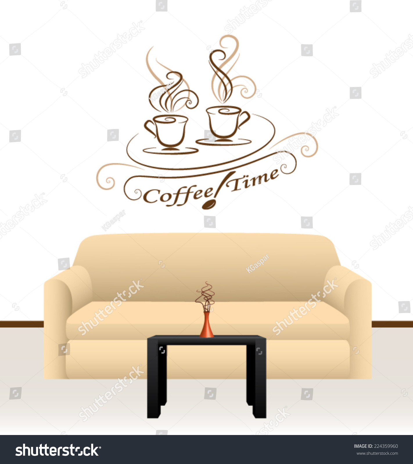 Coffee Time Message Wall Decoration Stock Vector 224359960 ...