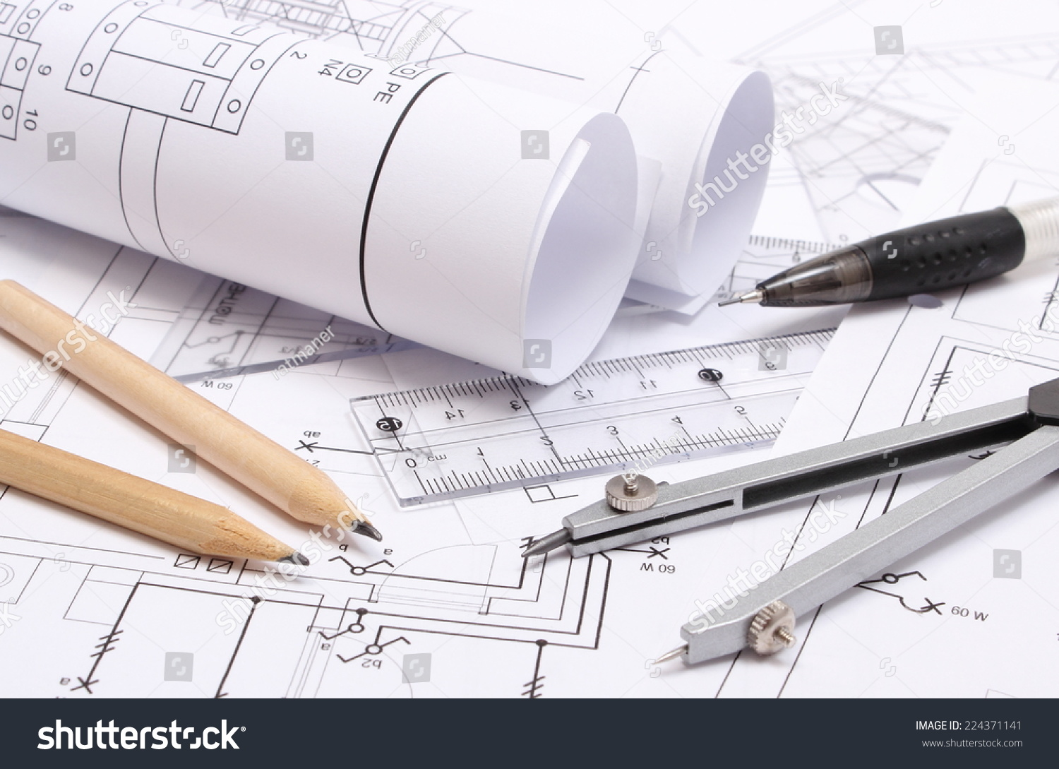 Rolled Electrical Diagrams And Accessories For Drawing Lying On Construction Of House Drawings The Projects Engineer Jobs Ez