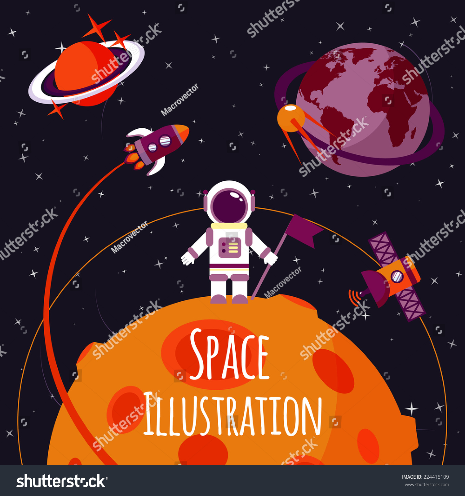 Space Concept With Astronaut On Moon And Rocket Satellites ...