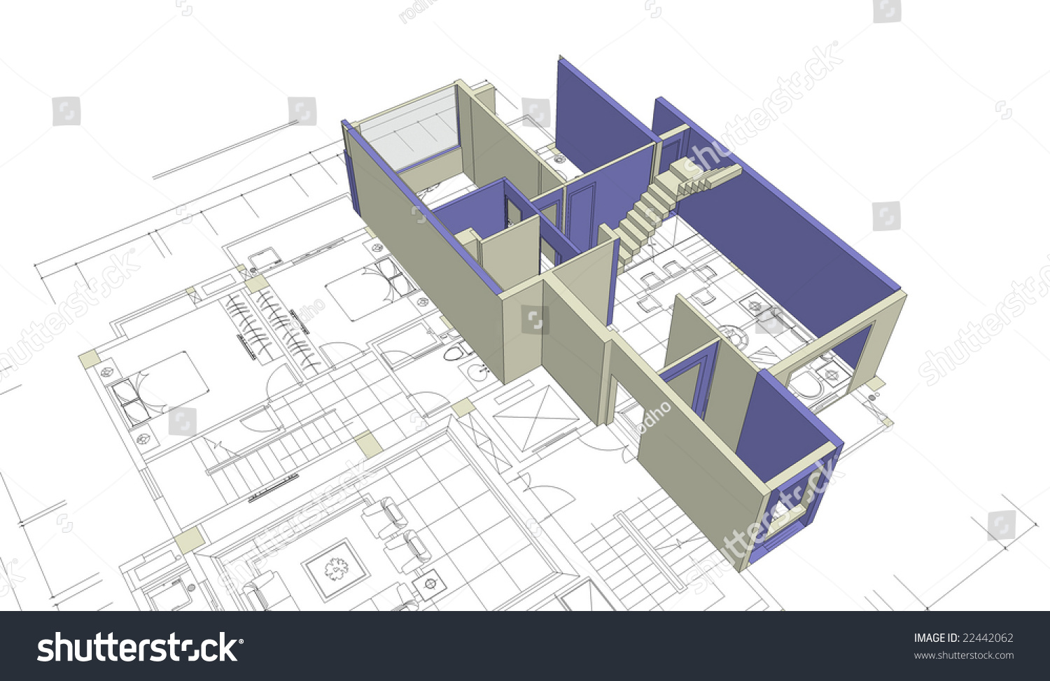 Architecture Blueprints 3d unfinished 3d house mockup on top stock illustration 22442062