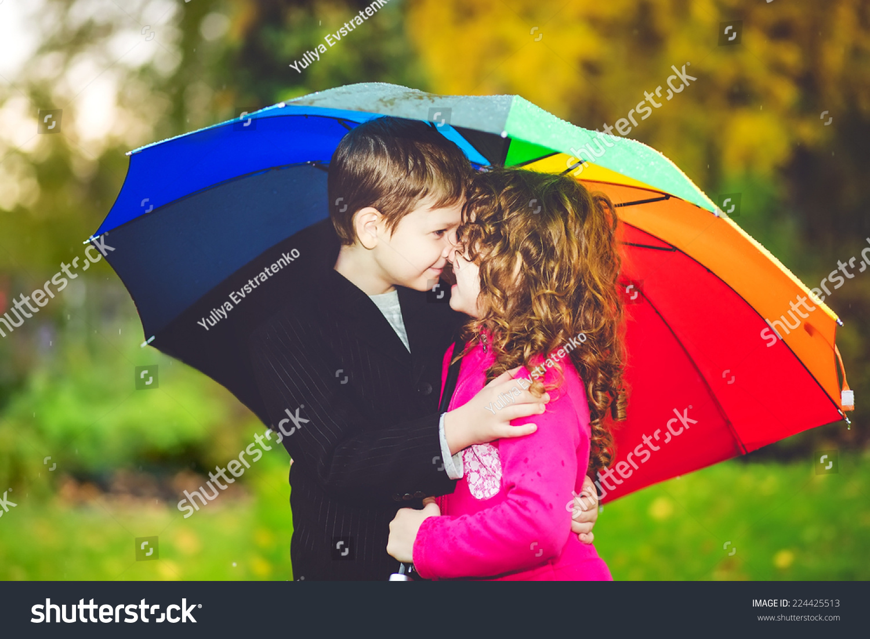 Little Girl Boy Hiding Under Rainbow Stock Photo 224425513