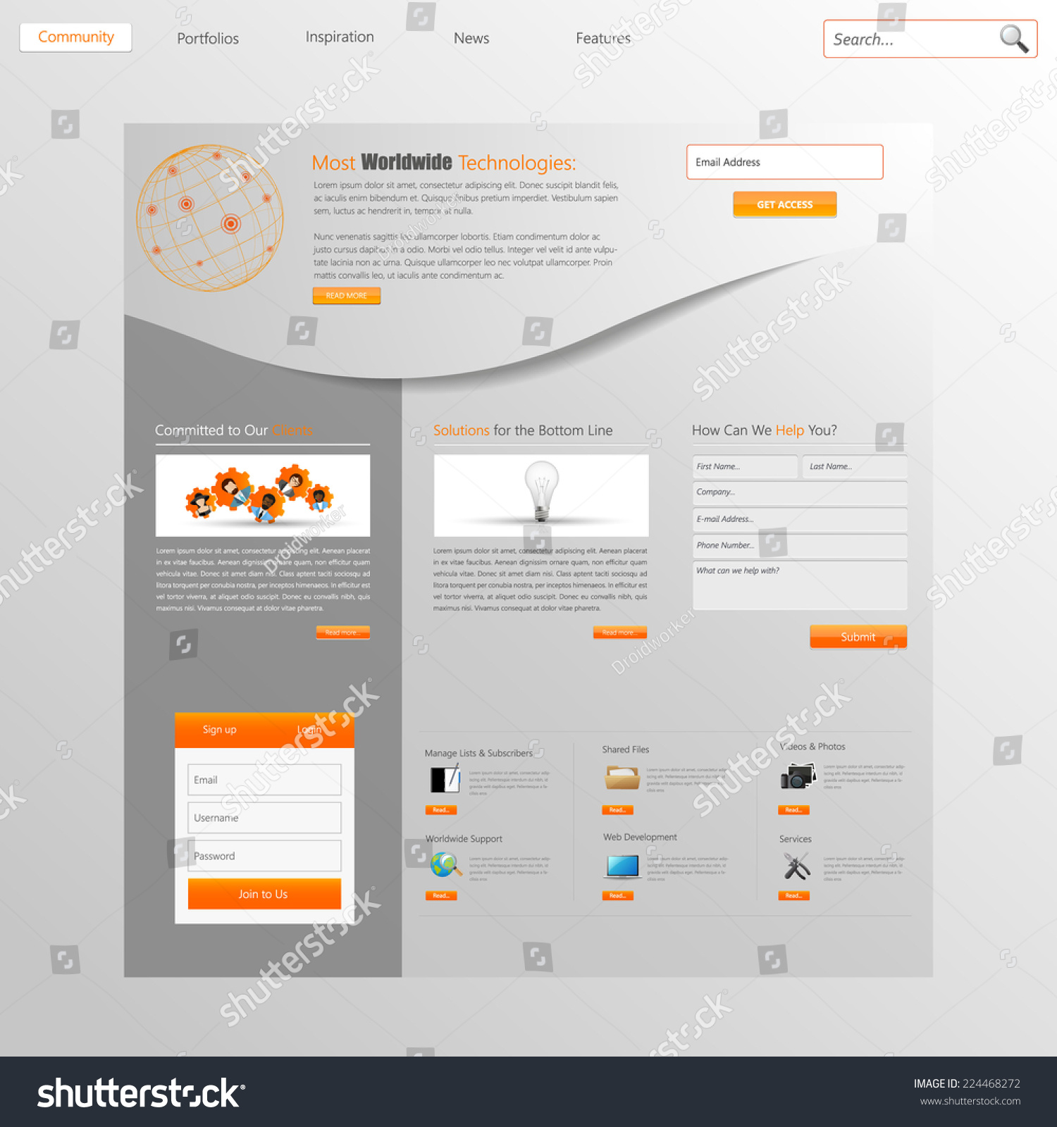 Website Design Template Menu Elements Icons Stock Vector 224468272 ...
