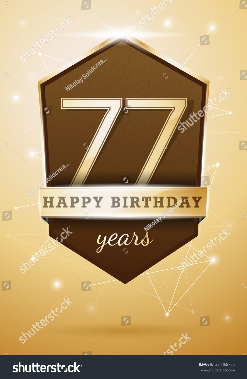 77 Years Anniversary Celebration Design Happy Birthday Card