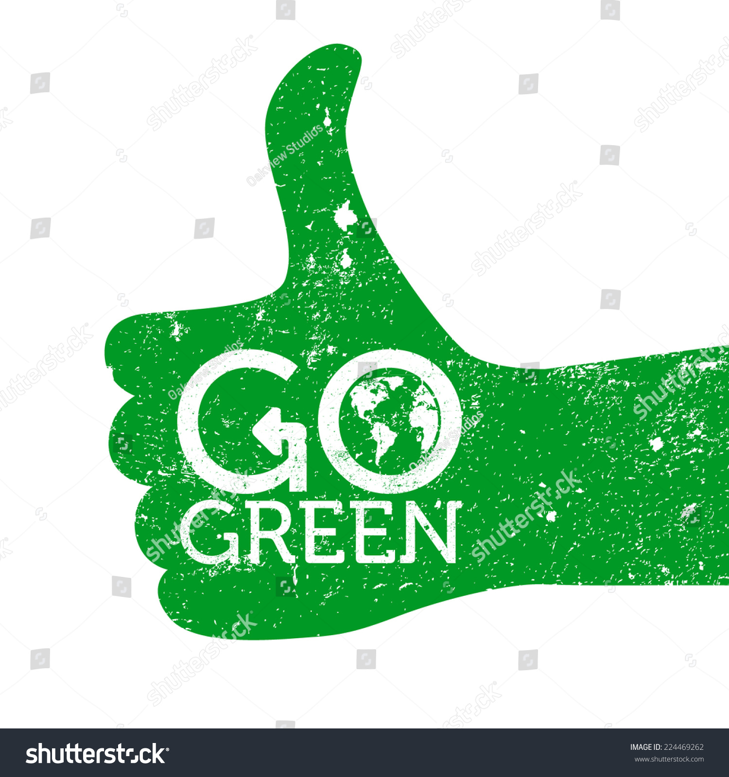 Go Green Thumbs Up Grunge Vector Stock Vector Royalty Free