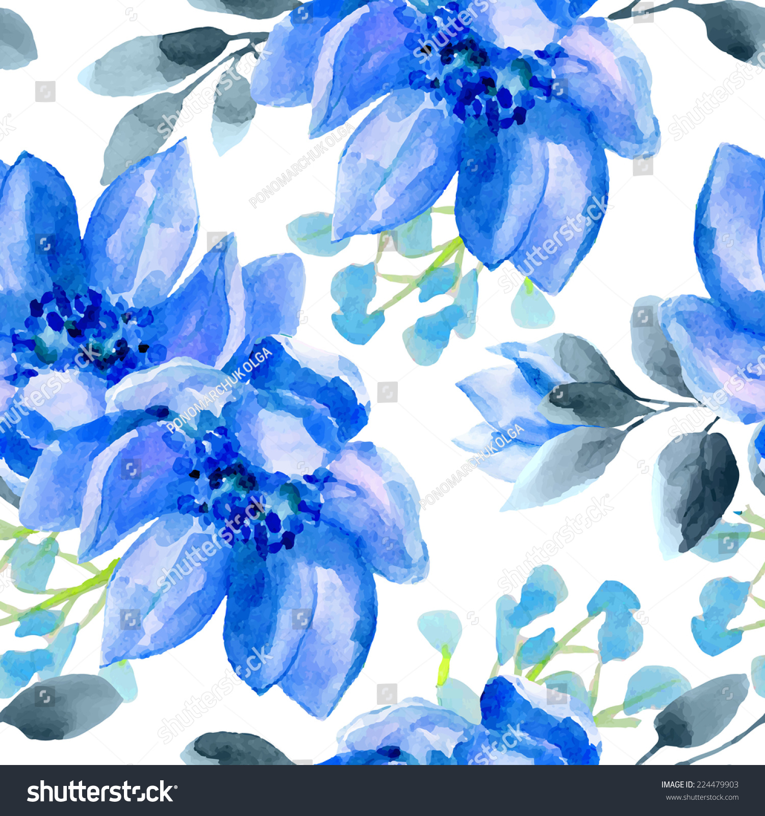 Seamless Wallpaper Blue Flowers Watercolor Illustration Stock