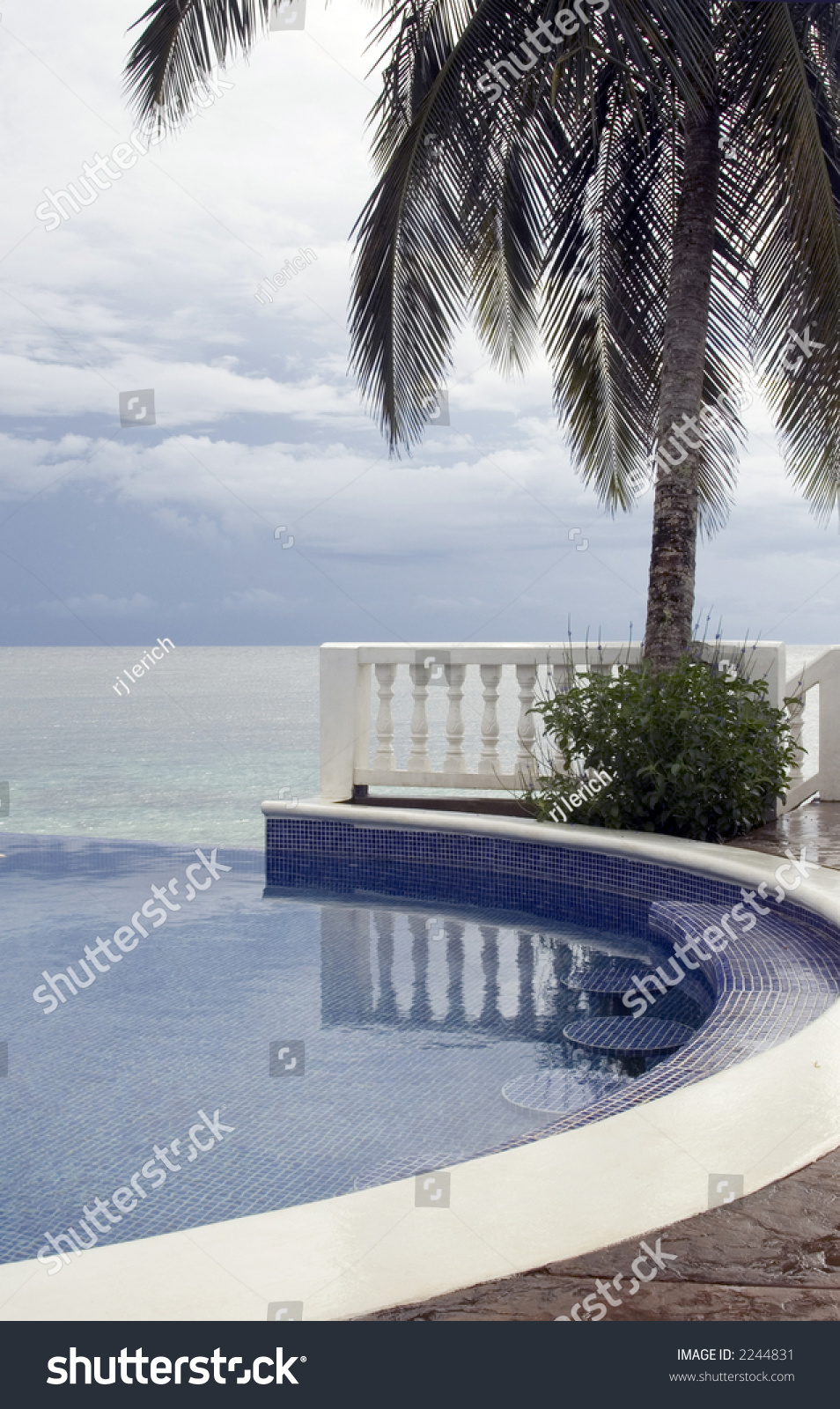 Swimming Pool Built In Bar Seats Table Caribbean Sea Nicaragua Resort Stock Photo 2244831