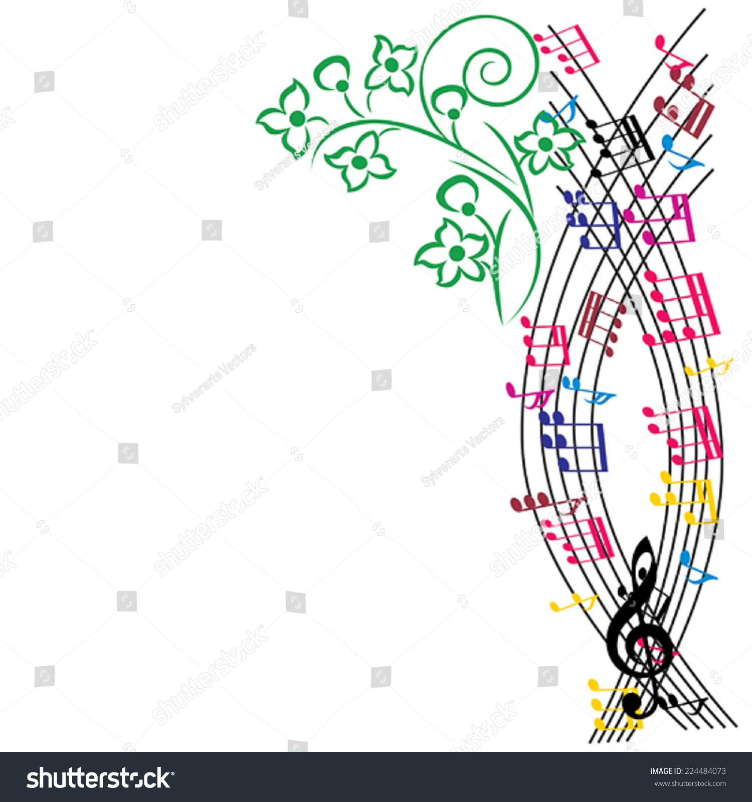 music notes background stylish musical theme stock vector hd rh shutterstock com Abstract Music Notes Background Colorful Music Notes Background