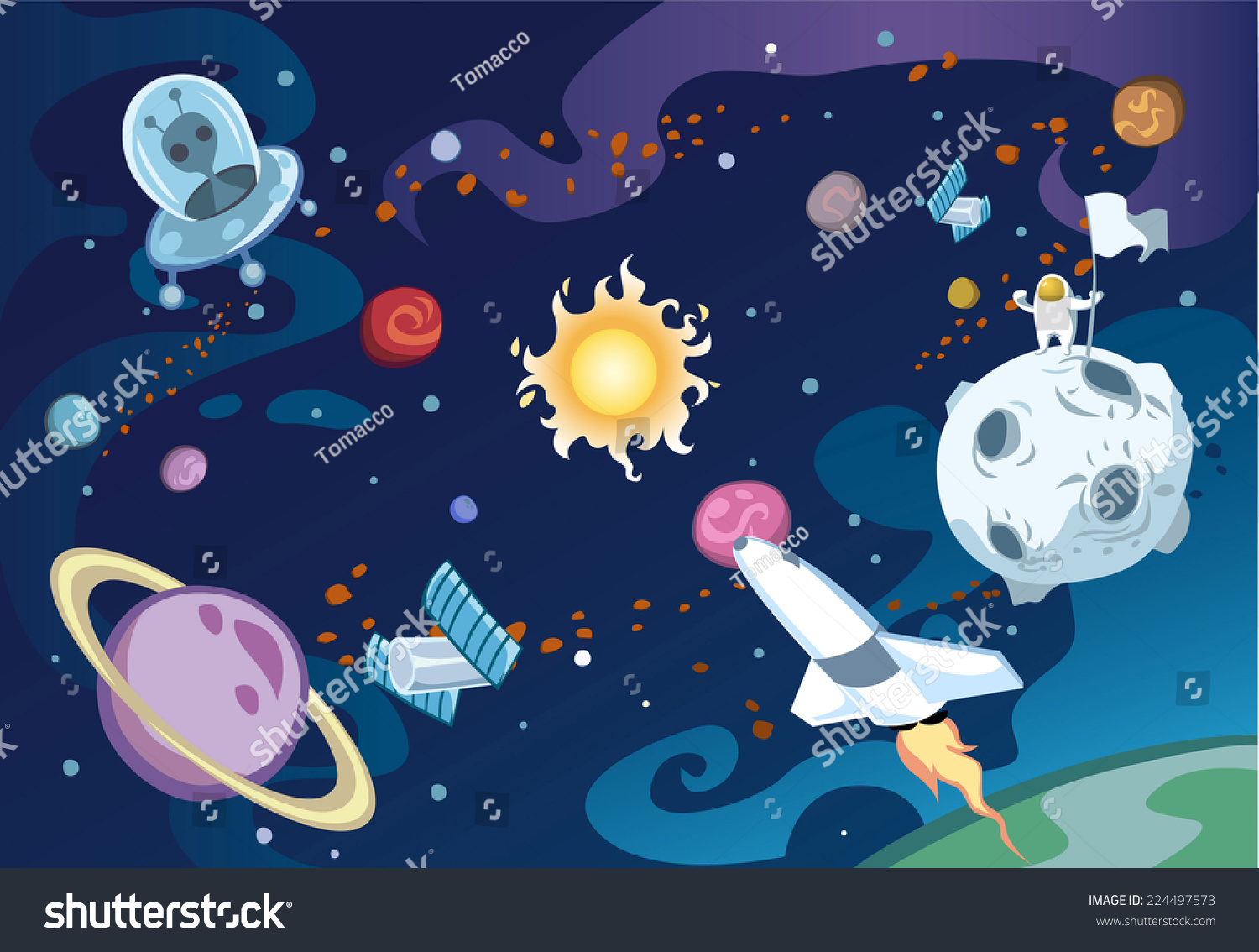 galaxies planets and stars cartoons - photo #23