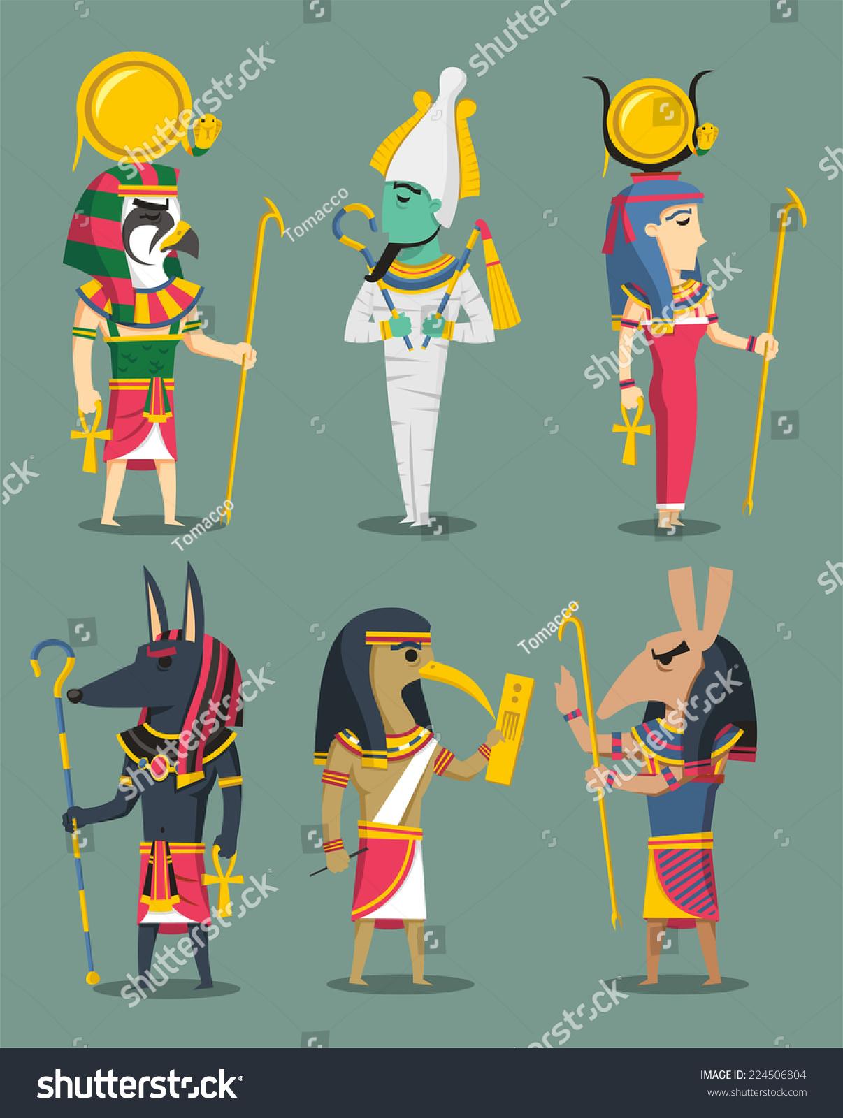 Egyptian Gods Egypt Goddesses Osiris Isis Stock Vector