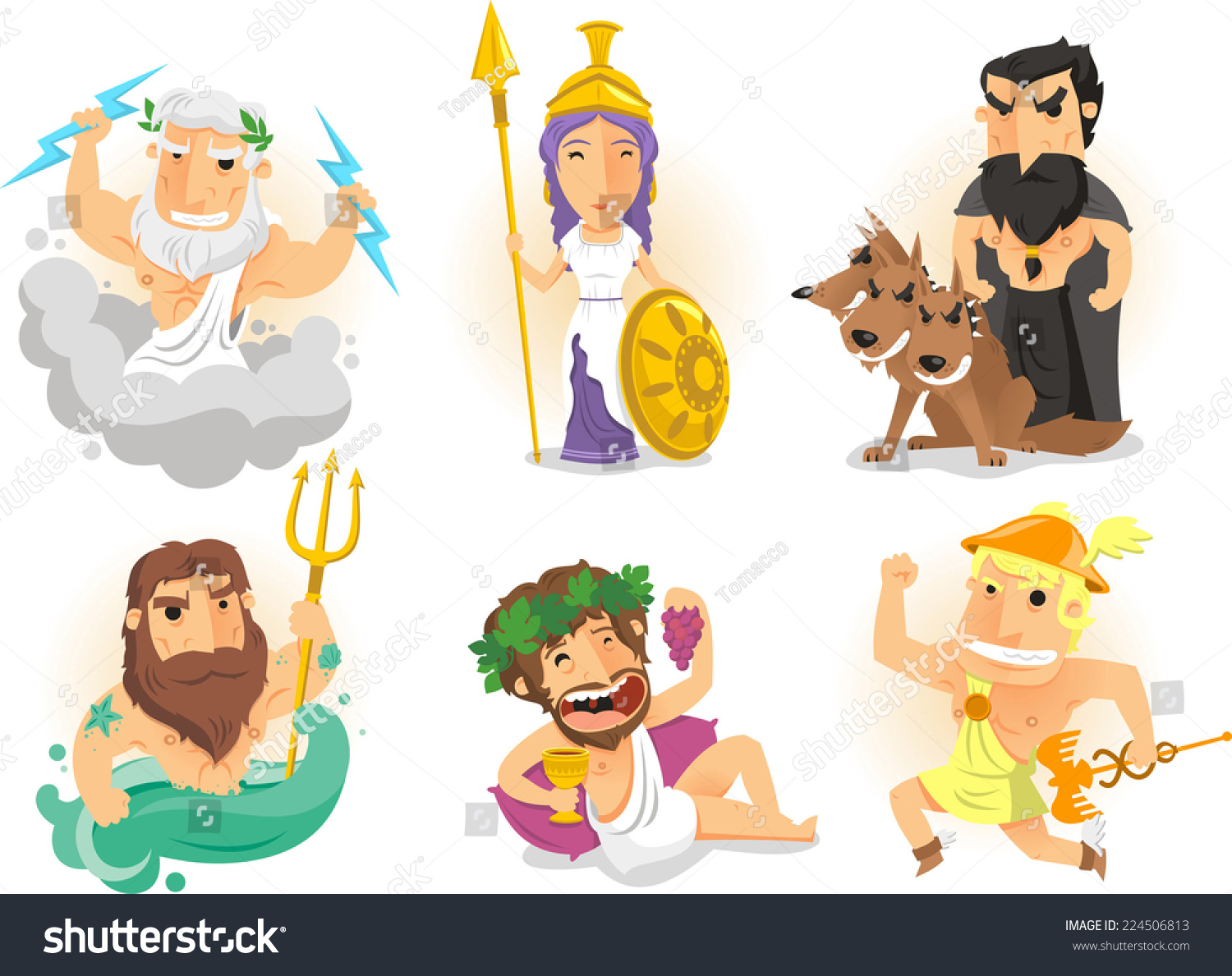 greek gods ancient greece myths cartoon stock vector 224506813