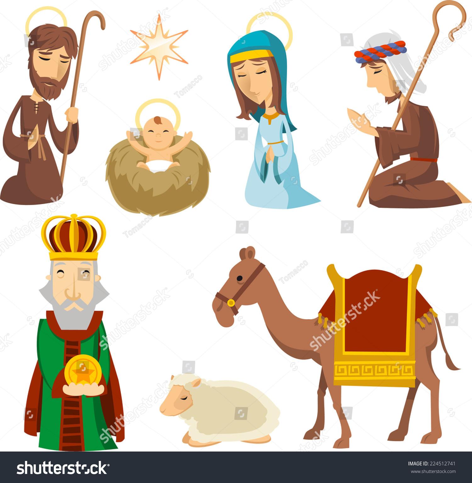 Nativity Scene Characters Illustrations Stock Vector Royalty Free