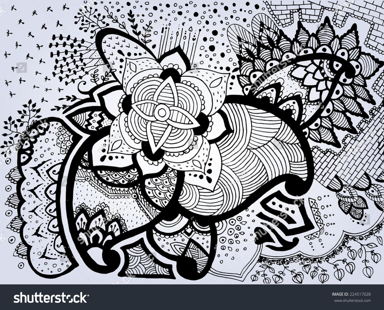 Henna Mehndi Vector : Grunge handdrawn abstract henna mehndi flowers stock vector 2018