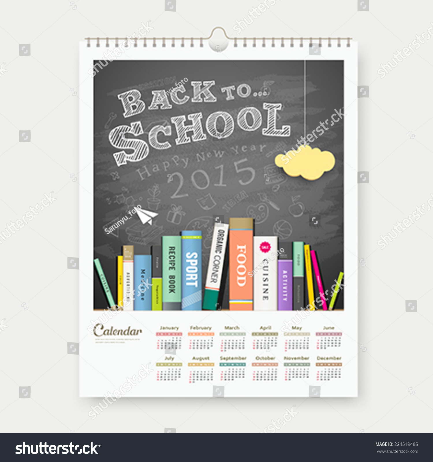 Calendar Design For School : Calendar back to school with books concept design