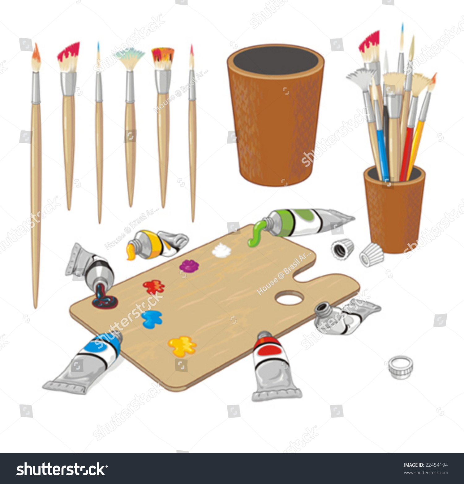 Clip Art Collection With Brushes, Palette, Paint Tubes And ...