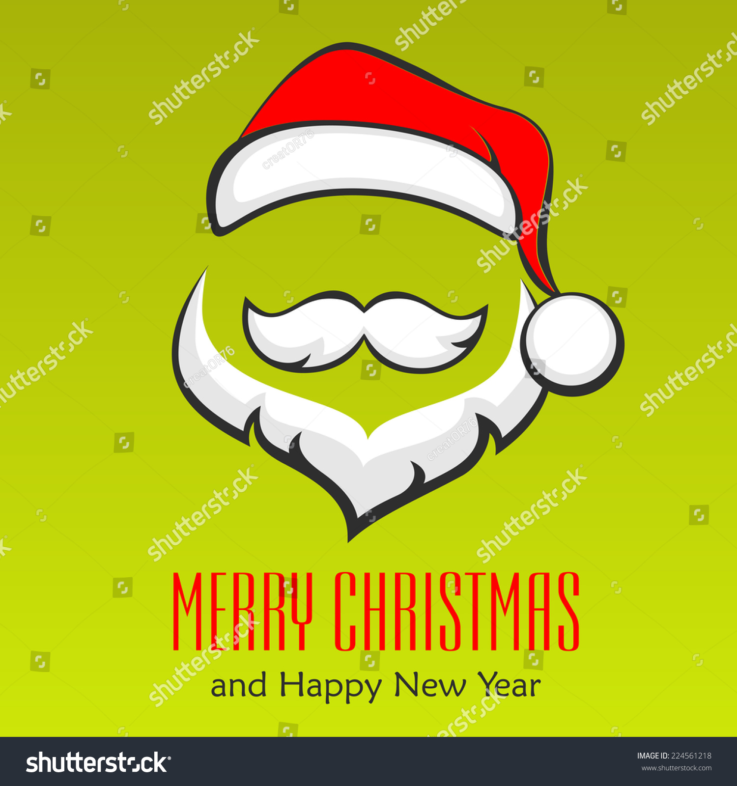 Santa Claus Hipster Style Face On Stock Vector 224561218 - Shutterstock