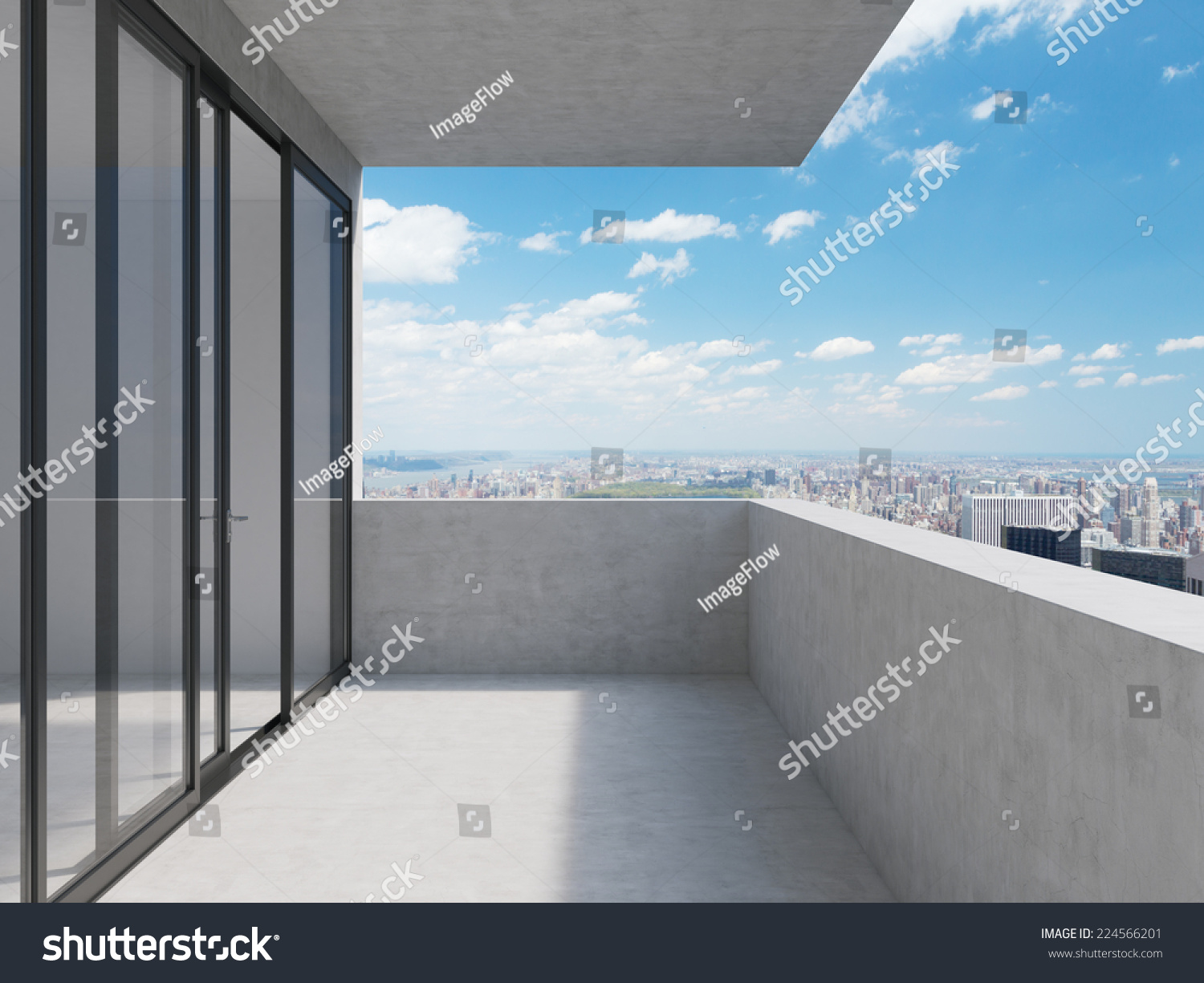 Concept future perspectives empty modern balcony stock for Balcony concept