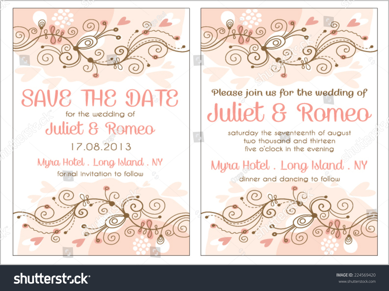 Set Floral Wedding Invitation Template Pink Stock Vector 224569420 ...