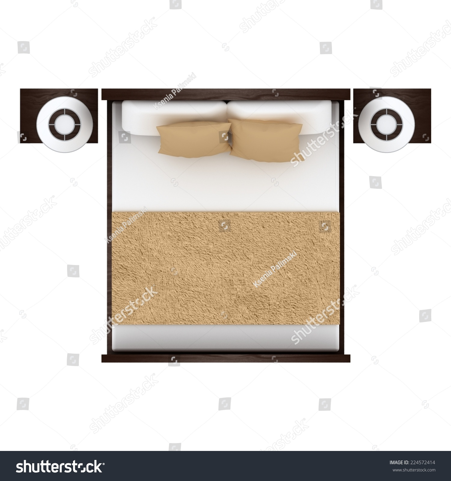 White Bed Top View - Bed top view isolated on white background