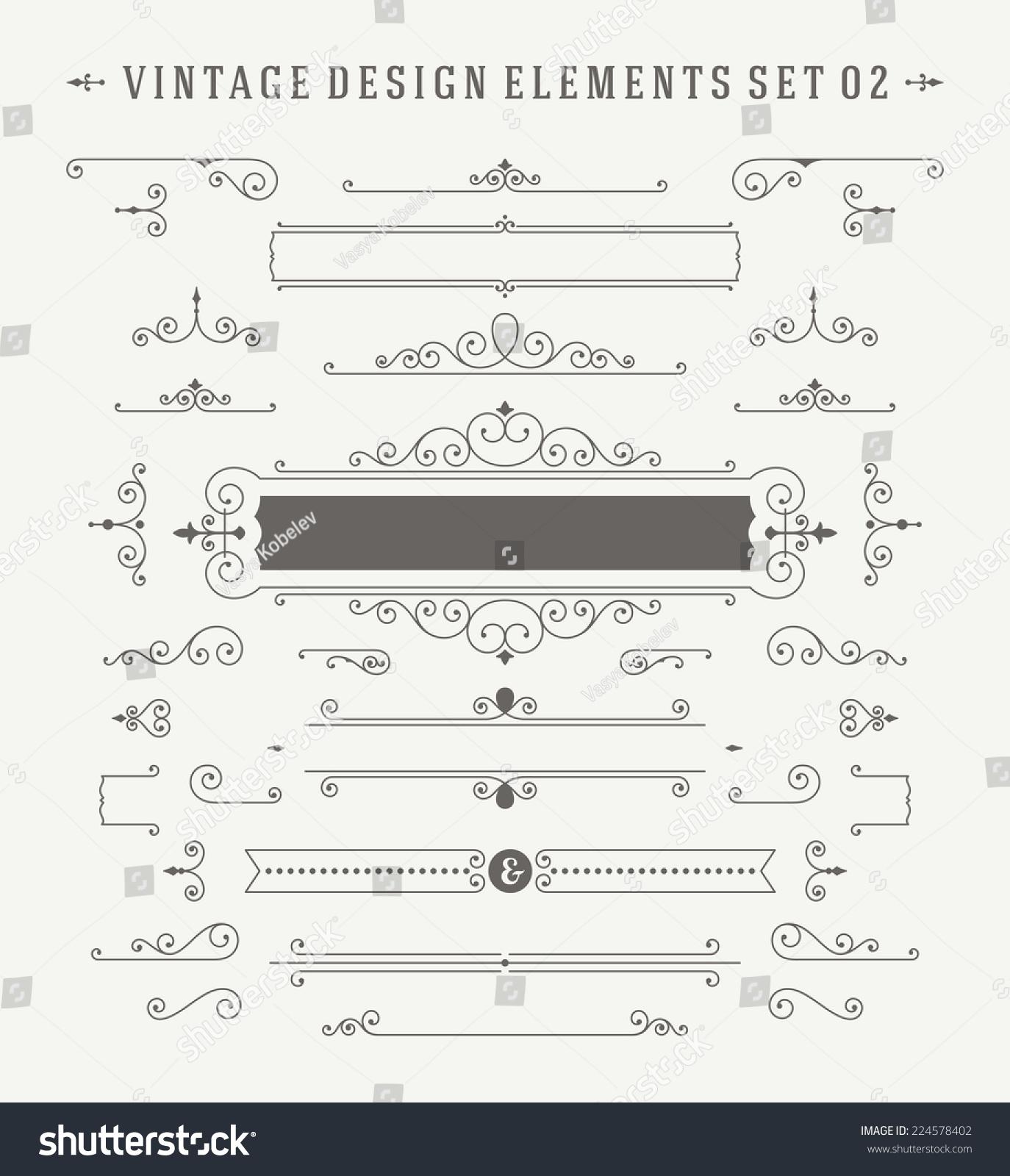 Vintage Vector Ornaments Decorations Design Elements Stock