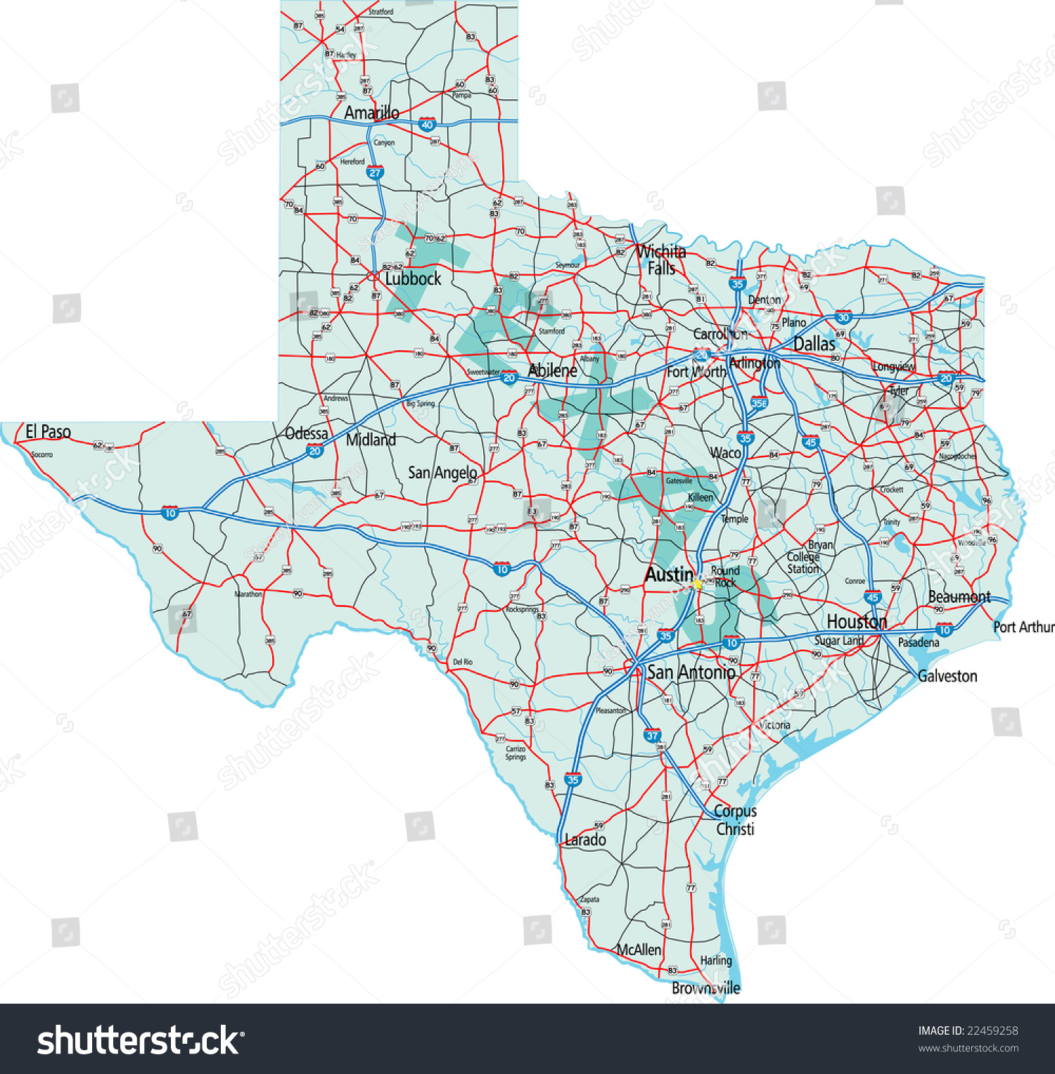 Texas State Interstate Us Highway Map Stock Vector - Us map texas vector