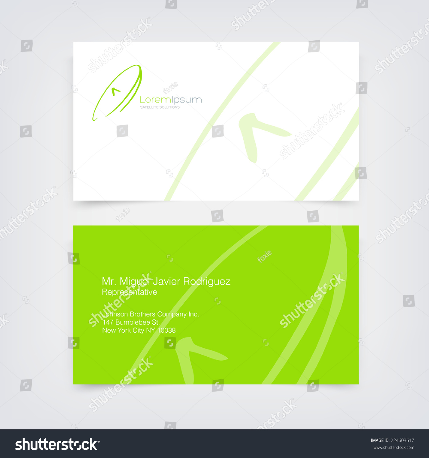 Vector Green Business Card Design Template Stock Vector