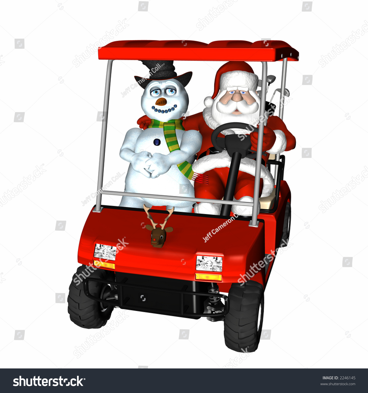 Santa Frosty Out Playing Golf Riding Stock Illustration