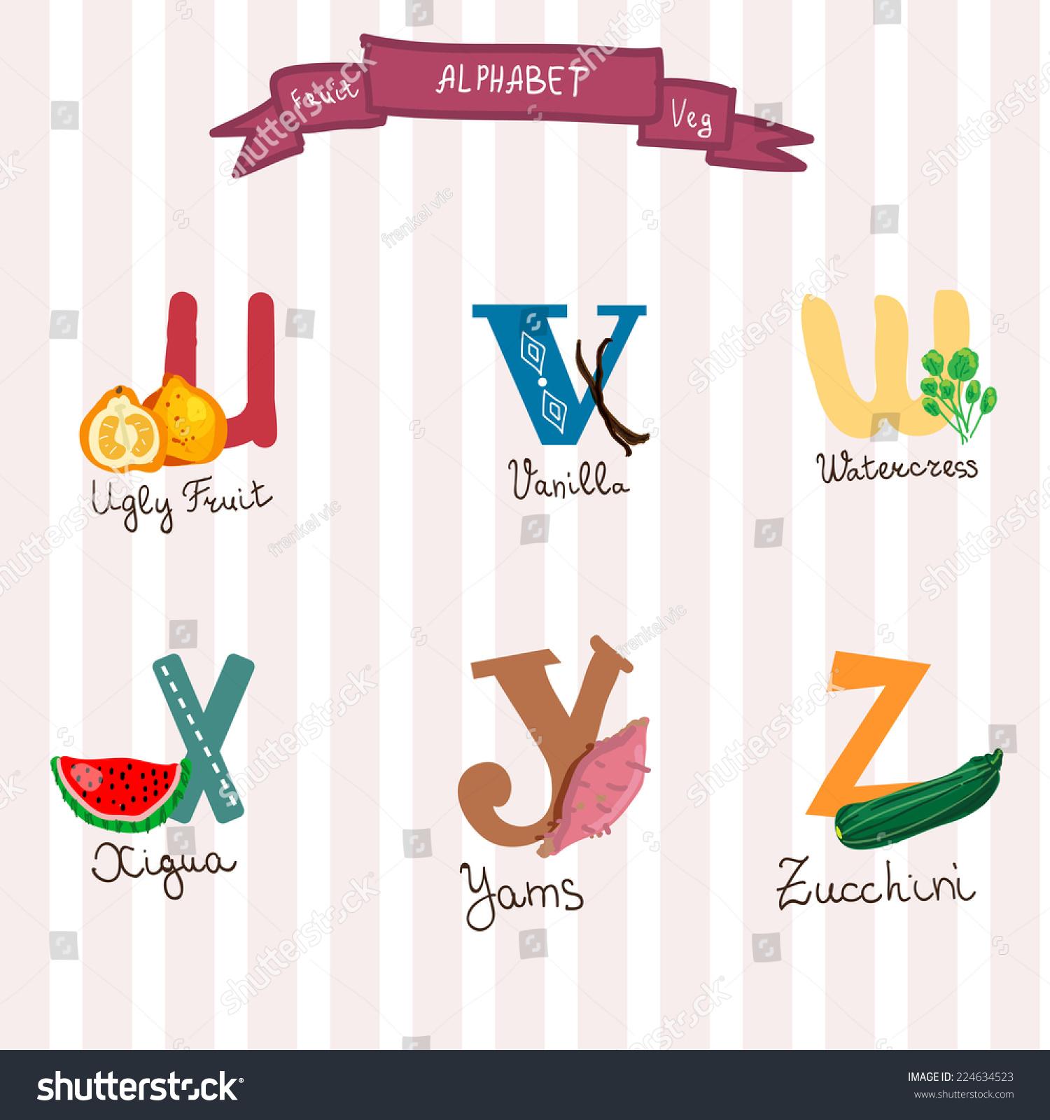 Cute Fruits Veg Alphabet Vectoruvwxyz Letters Stock Vector