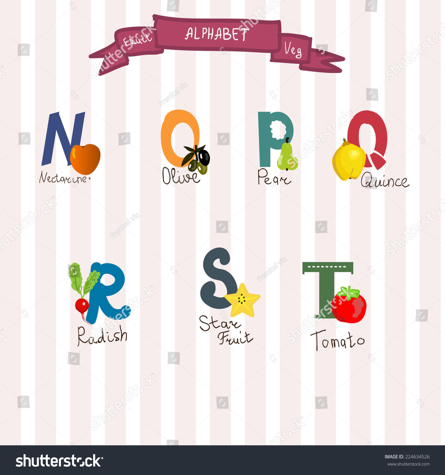 cute fruits and veg alphabet in vector norqp